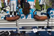 Panthers running back DeAngelo Williams takes a break on the bench.