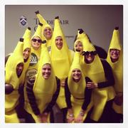 Here's a bunch of bananas from Access Intelligence. Pictured are Kee Eddings, Jamie Reesby, Christy Coleman, Carey Buchholtz, Daniel McKinnon, Cassie Davie, Ellen Nyboer, Danielle Jamar, Mary Page-Bailey and Jason Smith (monkey in the background). Taken at the company Halloween party.