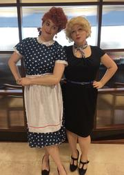 These two gals dressed up as Lucy and Ethel. Lauren Hammelman of Swift Lease played the beloved Lucy, and Nuance Stone of NAI Houston was Ethel. They were pretty much in character all day.