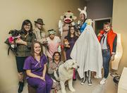 Keystone Resources in the Heights celebrated with costumes. In the photos - Erica Bogdan (Sock Monkey), Julie Irvin (Pajamas), April Guzik (Adventure Time), Roger Sullivan (Inspector), Lynsey Jones (Daria), Natalia de los Rellez (Ghost), Shonna Godoy (Annie-League of Legends), Stephanie Sullivan (Old woman), Katy Moy (Nurse), Lauren Klich (Back to the Future) and dogs, Rockwell and Savannah.