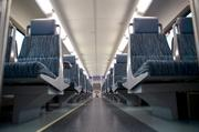 The inside of a SunRail passenger car reveals wide aisles and comfortable seating. Phase 1 is expected to run 4,300 passenger trips per day in its opening year.