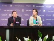 Adam Barrett, VP of IMG, and former tennis star Mary Joe Fernández answer questions from reporters during a Wednesday press conference.