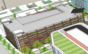A multilevel parking garage is expected to serve the center's guests.