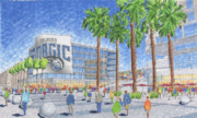 A streetview artistic rendering of the new complex (off to the right) with the Amway Center in front.