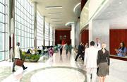 A rendering of the hospital's lobby.