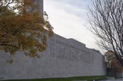 """The memorial, the """"great frieze"""" and the landscaping were completed in 1938, one year before the start of World War II."""
