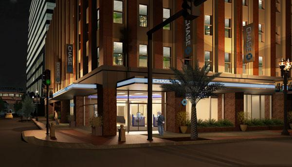 A nighttime rendering of the JPMorgan Chase & Co. branch planned for Downtown Jacksonville's Life of the South building.