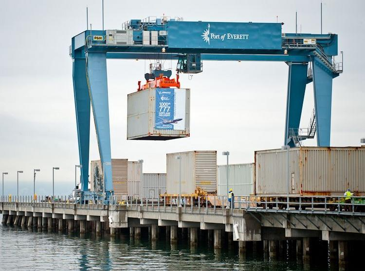 Oversized containers, in some cases four times the width of standard ocean containers, bring 777 fuselage parts from Japan through the Port of Everett.