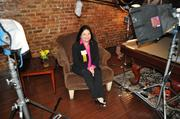 Diana Bolivar of Hispanic Chamber of Commerce of Metro Orlando readies for her on-camera interview.