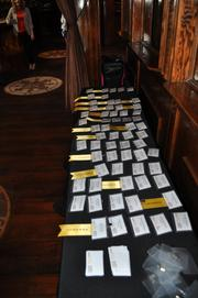 Name tags for the 2013 Women Who Mean Business honorees line the table at the entrance of Club 23 in downtown Orlando.