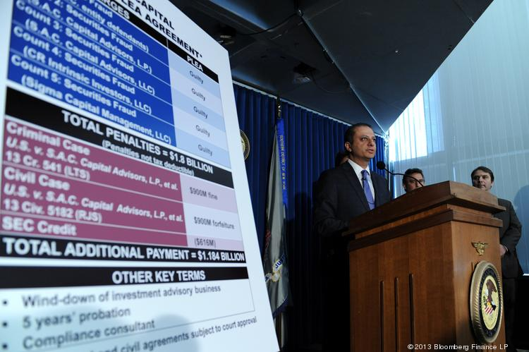 Preet Bharara, U.S. attorney for the Southern District of New York, announces a plea agreement with SAC Capital Advisors in New York on Monday.