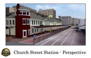 Rendering of the Church Street train station facing south.