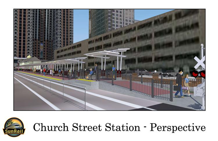 Rendering of the Church Street train station facing north.