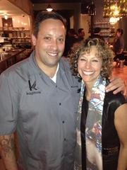 Time Warner Cable Media held an event at Top Chef All Star's Mike Isabella's Kapnos restaurant in D.C. on Oct. 24. Isabella, here with Phyllis Ehrlich of GVP Client Solutions had a cooking demonstration.