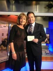 "JImmy Fallon, here with News4 anchor Doreen Gentzler, was in town Oct. 25 to promote his taking over ""The Tonight Show"" in February."