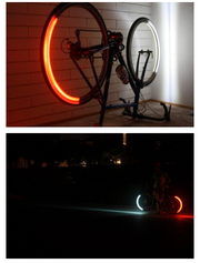 """Revolights This is handy for biker safety. Right now, most bikers ride at night with a blinking red light (if they're smart). Revolights lighting has """"smart"""" rings that synchronize to your speed and act like headlights and brake lights of a car."""