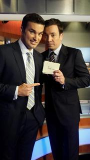 News4 Chief Meteorologist Doug Kammerer, left, with Jimmy Fallon.