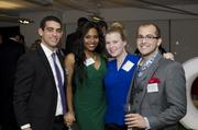 "D.C. commercial design firm Fanelli McClain held its annual networking cocktail event Oct. 24, also celebrating 28 years in business. The event, which was held at the HON Resource Center, had a ""Fire and Ice"" theme. From left, Kramer Marc of CBRE, Samantha Powell of Fanelli McClain, Amanda Jean Wessell of CBRE and Leon Mavlian of Fanelli McClain."