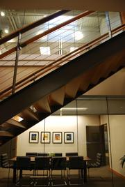 Another view of the staircase that links Gevurtz Menashe's offices on the fourth and fifth floors of the Fleischner-Mayer Building in Old Town/Chinatown.