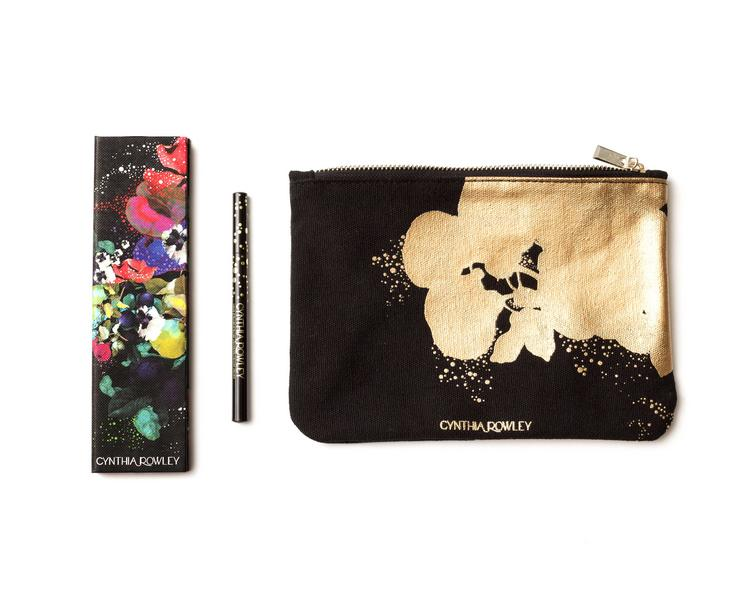 Cynthia Rowley's cosmetics collection will include an eye shadow palette ($24), eye liner ($18) and gilded canvas bag ($15)
