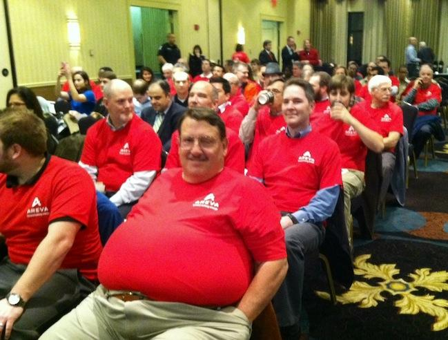 More than 40 Areva employees donned red shirts at the hearing and expressed support for the nuclear industry.