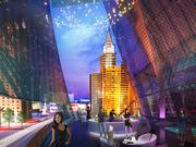 An artist's rendering of a balcony view from the new Las Vegas arena looking toward New York-New York on the Las Vegas Strip. An expansive glass façade with an overlay of video marks the front door and interior atrium.