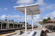 New platform awnings are in place at the Sligh Boulevard Amtrak station.