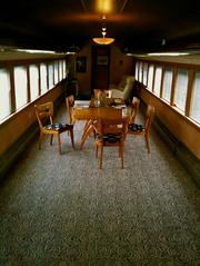 The conference room in Cascade Web Development's railcar office in Southeast Portland.
