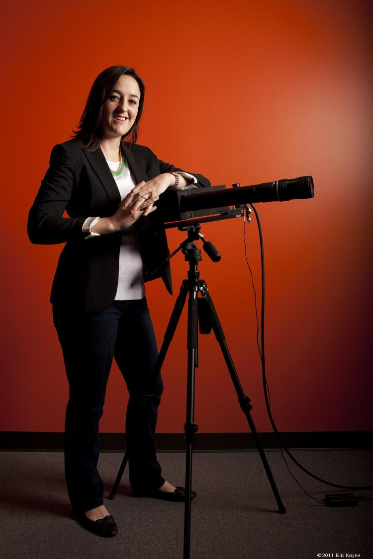Allison Sawyer, CEO, Rebellion Photonics, stands by her company's gas cloud imaging camera.