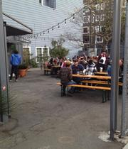 Biergarten in San Francisco's Hayes Valley draws people from around the city who want to partake of German beer and food in a traditional beer garden.
