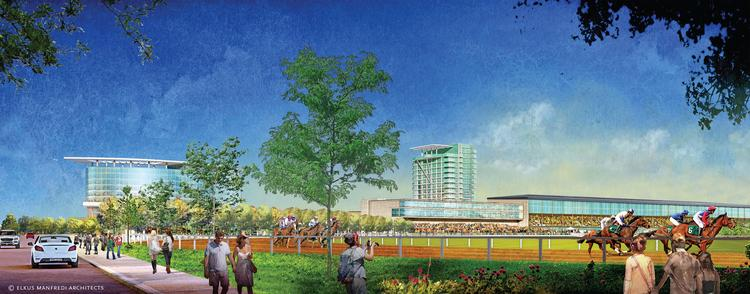 An artist's rendering of the Suffolk Downs casino proposal.