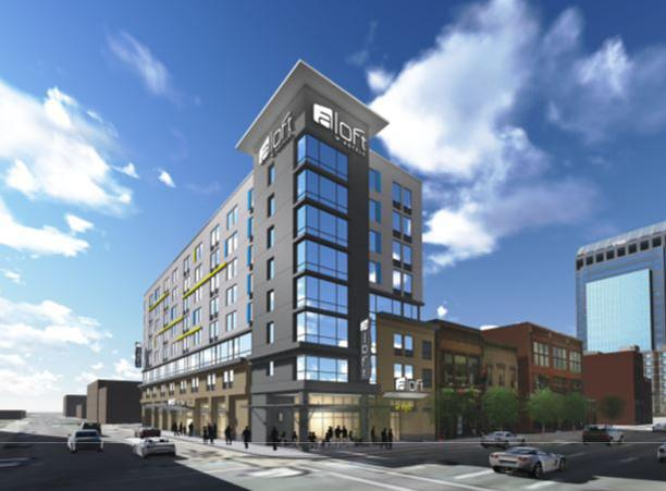 Louisville developer Steve Poe plans to develop an eight-story, 175-room Aloft boutique hotel on the site of the former Marine Electric Co. Inc. headquarters at First and Main streets.