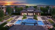 The Clifton Park pool area also includes outdoor entertainment spaces, lush landscaping and a fire pit.