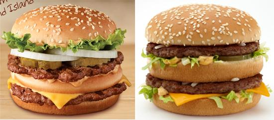 Can you guess which one is the Big King? Pictured side by side are Burger King's Big King, left, and McDonald's Big Mac, right.