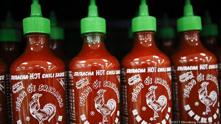 Huy Fong Foods Inc. Sriracha sauce is displayed for sale.