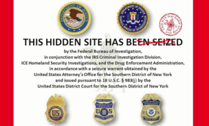 A parody of the message marking the old Silk Road site, amended with the words,