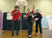 Joining Lopez and Blaze at the event was Todd Bosma, the Blazers' director of game operations and events.
