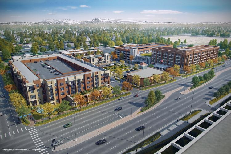 An artist's rendering of the proposed Block 21 development near the Anschutz Medical Campus.