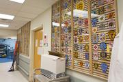 EMT patches decorate a wall inside the Shock Trauma unit.