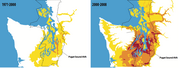 The growing season for wine grapes in the Puget Sound area has lengthened in recent years (above right) compared to the late 20th century (above left), as dis- played in growing degree days (a calculation of ideal growing temperatures). Between 1,600 and 1,900 growing degree days (yellow and orange), some pinot noir clones can grow. Sauvignon blanc and more pinot noir varieties need at least 1,900 to thrive.