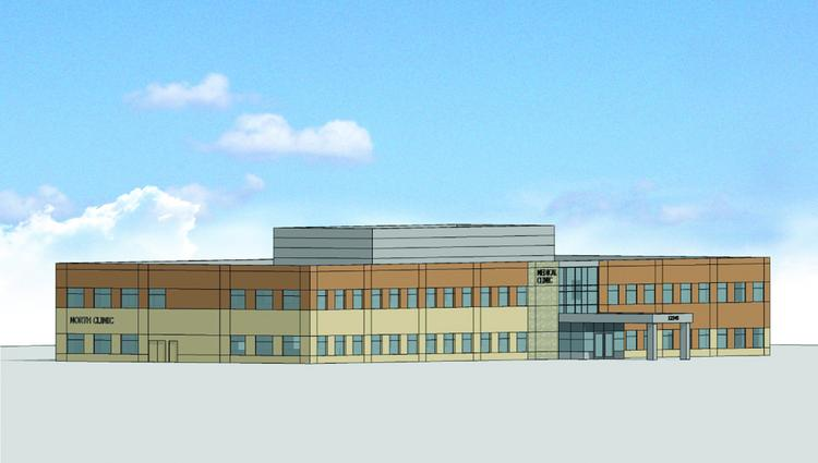A rendering of the planned medical center. BTO development and North Memorial Health Care will break ground this month on a two-story medical office building.