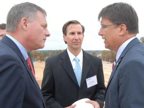 U.S. Sen. Richard Burr, Highwoods CEO Ed Fritsch and Gov. Pat McCrory at the recent groundbreaking of the MetLife global technology and operations hub in Cary.