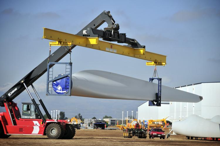 A wind turbine blade at the Windsor blade factory in Colorado operated by Vestas Wind Systems.
