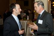 Brad Cerilli of Seamless in conversation with Shaw McDermott of K&L Gates at the Boston Business Journal's Power 50 event at the Boston Harbor Hotel.