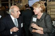 Having what only appears to be a serious conversation at the Boston Business Journal's Power 50 event is George Tarvezian of the Tarvezian Group and Alice Coogan of Lahey Health.