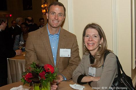 David Farris of Towers Watson and Renee Burns of Merril Lynch socialize at the Boston Business Journal's Power 50 event at the Boston Harbor Hotel.