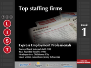 1: Express Employment Professionals  The full list of the top staffing firms - including contact information - is available to PBJ subscribers.  Not a subscriber? Sign up for a free 4-week trial subscription to view this list and more today