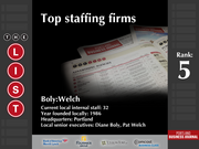 5: Boly:Welch  The full list of the top staffing firms - including contact information - is available to PBJ subscribers.  Not a subscriber? Sign up for a free 4-week trial subscription to view this list and more today