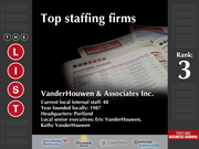 3: VanderHouwen & Associates Inc.  The full list of the top staffing firms - including contact information - is available to PBJ subscribers.  Not a subscriber? Sign up for a free 4-week trial subscription to view this list and more today