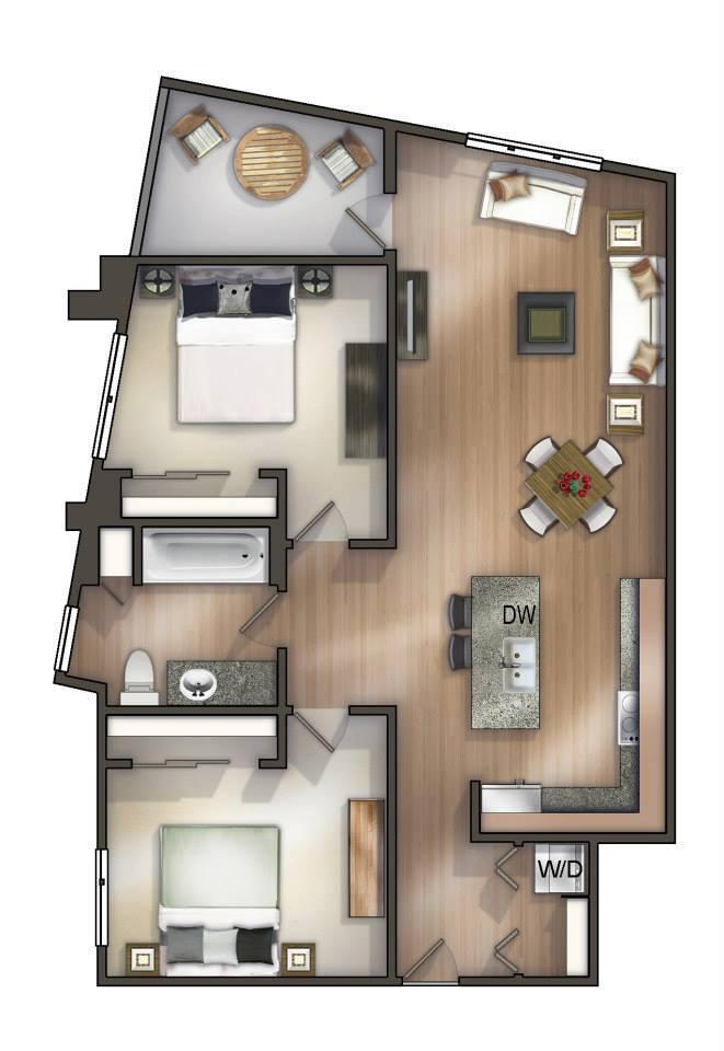 An option for a 2-bedroom apartment at Corner 365. More floor plans are on Corner 365's Facebook page.